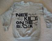 Vintage 80's New Kids On The Block concert tour party Gray Sweatshirt KIDS Size 10-12