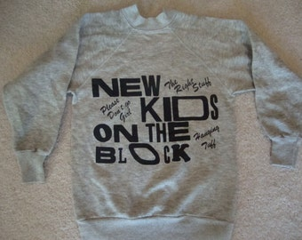 Vintage 80's New Kids On The Block concert tour party Gray Sweatshirt KIDS Size 10-12