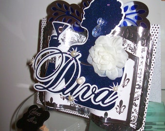 Cheers To A Special Diva - 3D Embellished Greeting Card Crafted by Hand