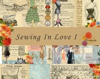 Sewing in Love I(Digital paper)