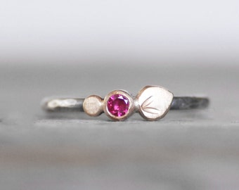 Ruby Bloom Ring - Ruby Gold and Sterling Silver Stacking Ring