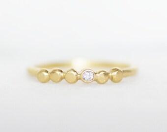 Tiny Diamond Pebble Wedding Ring - 2mm Diamond Ring - 18k OR 14k Gold Wedding Ring