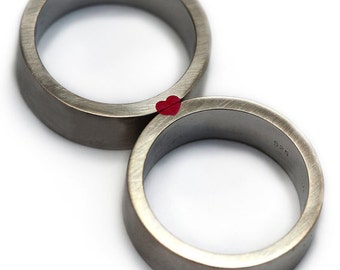 Wedding ring set, Red Heart ring, Red enamel, Love ring, Sterling silver wedding bands, Mens wedding band,  Matching rings