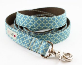Blue Green Geometric Dog Leash
