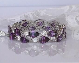 Amethyst Crystal Bracelet, Wide Cuff Bracelet, Bridesmaids Bracelet, Lilac Purple Bracelet, Crystal Bridal Jewelry, Wedding Jewelry, TESSA S