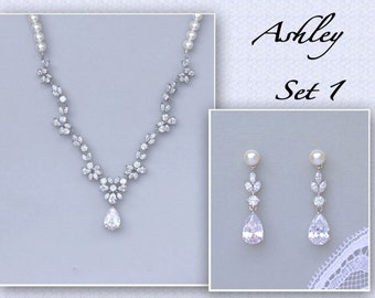 Bridal Jewelry Set, Crystal Jewelry Set, Pearl Necklace and Earring Set, Wedding Jewelry Set, ASHLEY 1