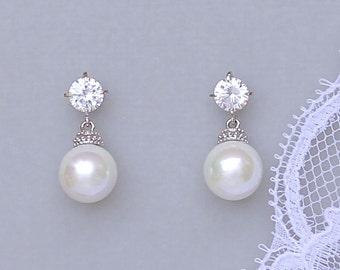 Pearl Drop Earrings, Ivory Pearl Bridal Earrings, Round Pearl Drop Earrings, Swarovski Pearl Wedding Earrings,