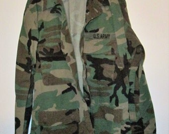 90's Style Army Camouflage Shirt Jacket, Size Medium