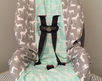 Mint Arrows & GrAy deer fabric carseat cover tribal hunter bucks