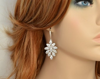 Bridal Earrings, Cubic Zirconia, Ear Wires, Blair Earrings - Will Ship in 1-3 Business Days