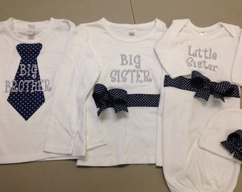 Navy, Gray and White Sibling Set of 3