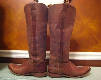 Lucchese Brown Vintage Cowboy Boots Size 9B
