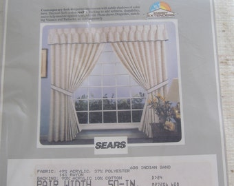 """Pair of Sears Pinch-Pleated Draperies, Insulated, 50"""" Wide, 84"""" Long, NIP"""
