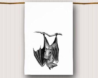 Vintage Bat Tea Towel Kitchen Towel Dish Towel Gothic Dish Towel
