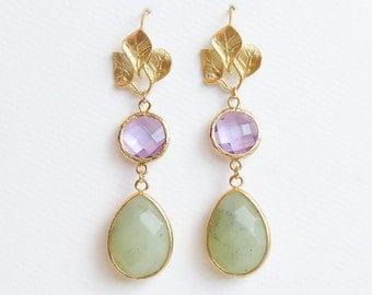 Purple and Green Earrings | Purple and Green Drop Earrings | Gold Purple and Green Drop Earrings | Holiday Earrings