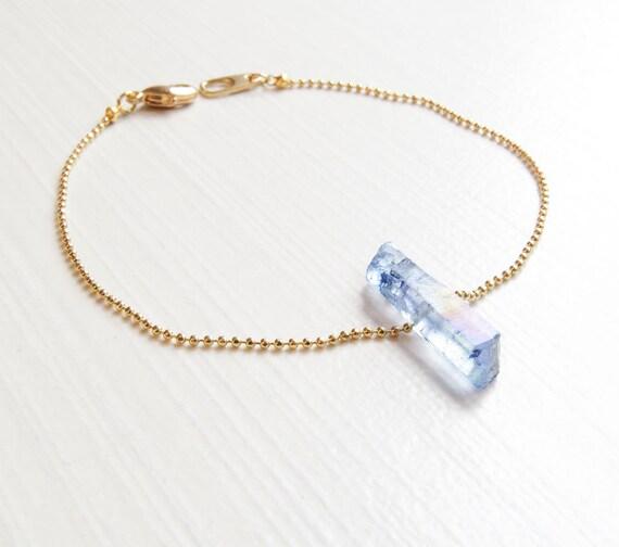 Raw Blue Quartz Bracelet | Blue Crystal Bracelet | Blue Gemstone Bracelet | Raw Blue Quartz Stone | Layering Bracelet | Boho Jewelry