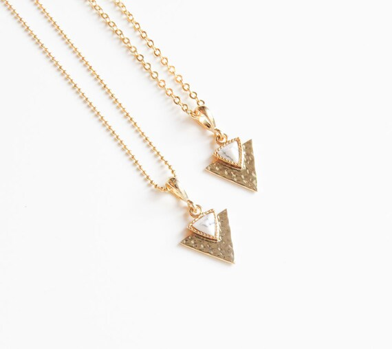 White Marble Necklace | White Gemstone Necklace |  White Geometric Necklace | Gold Marble Necklace | Layering Necklace | Minimalist Jewelry