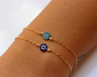 Eye Bracelet - Turquoise or Sapphire Blue Pave Evil Eye Bracelet - Gold Over Sterling Silver - Good Luck Jewelry, Faith, Protection Jewelry