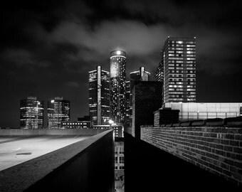 Renaissance City, Detroit, Black and White, Architecture, Night Photography, 11x14