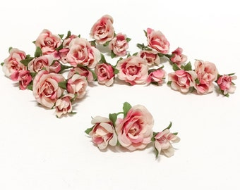 27 Tiny Cream Pink Mini Roses - Artificial Flowers, Artificial Flowers, Flower Crown, Wedding, Millinery