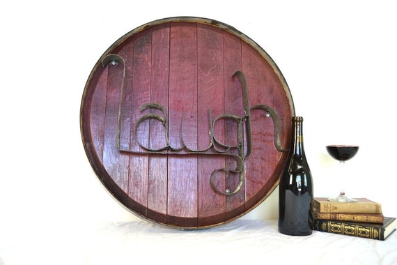 Barrel Head and Ring Art - LAUGH - Authentic Wine Barrel Head Sign / Napa Style / Unique Wall Art / Home Decor / Live Laugh Love