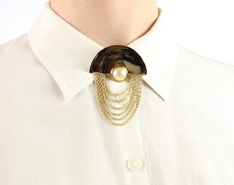 VINTAGE 1980s Chain Brooch Gold Pearl Collar Pin