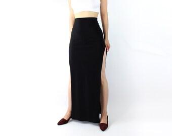 VINTAGE 1990s High Slit Skirt Black Long Maxi