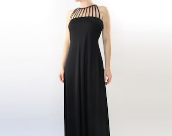 VINTAGE 1970s Caged Gown Black Maxi Dress XS
