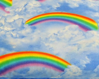 Rainbow Fabric , Clouds Sky Rainbows Cotton Material ,  Timeless Treasures