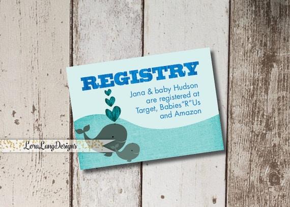 Digital Printable Whale Baby Shower Registry Insert Cards