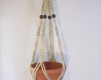 Macrame Plant Hanger 34 in Vintage strong 6mm Pearl Cord with BEADS (Choose Color)