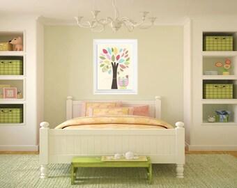 Owl Nursery Art Print - Nursery Collage, hayley, owl tree, nursery tree, pink and green owl, baby girl, girl room art decor