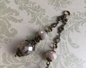 sale NEW Double drop dangle Vintage Style Wire wrapped capped dangle charm gray champagne frost faceted crystal  on chain