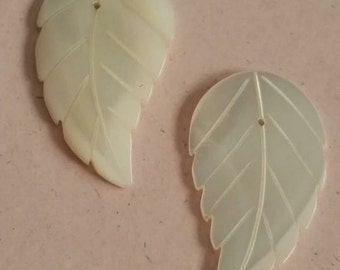 Vintage Mother of Pearl MOP Leaves Earring Accessories