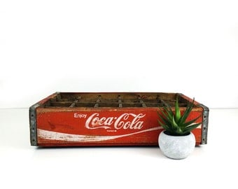 Vintage divided Coca cola crate / Wood soda crate / 1977 Coke collectible