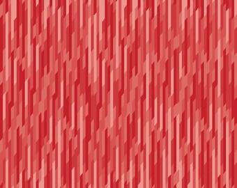 Desert Bloom Fabric Stripe in Red by Amanda Herring - 1 Yard