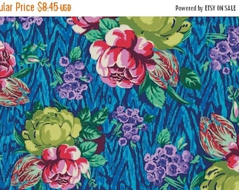 Fall Clearance Amy Butler Fabric - Tapestry Rose in Sapphire from the Hapi Collection