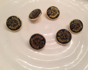 All the same button - 6 vintage black with gold plastic shank buttons