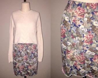 Vintage 90's hipster FLORAL DENIM cut off skirt - M/L