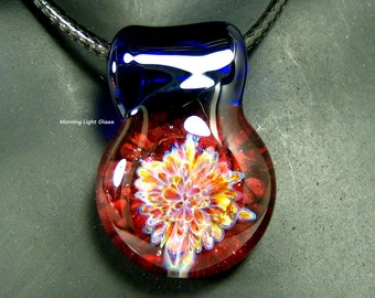 Lampwork Pendant - Boro Glass Implosion - Handmade Necklace - Artisan Crafted - Red Stardust