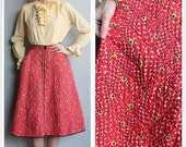 35% OFF SALE 1950s Skirt // Quilted Loungees Skirt // vintage 50s full skirt