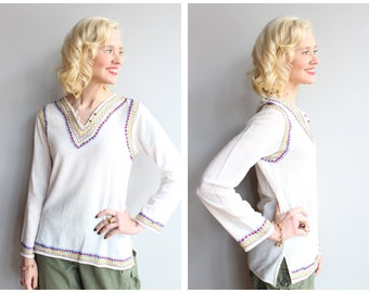 1970s Blouse // International Arts & Crafts Indian Blouse // vintage 70s cotton gauze blouse