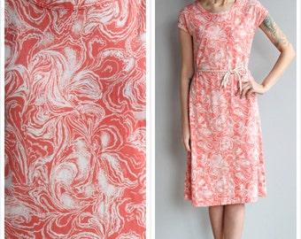 1990s Dress // Coral Swirl Diane Von Furstenberg Dress // vintage 90s sheath dress