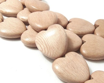Rosewood Heart Bead, Tan, Light Pink, Focal Pendant, Natural Wood Bead, Hand Carved, 25mm, Set of 2 Beads - ID 2157-SET2