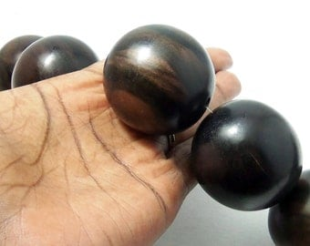 Ebony Wood Bead, 38mm - 40mm, Round, Smooth, Natural Wood Beads, Large, Big, 2pcs - ID 2192