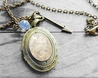 Get 15% OFF - White Opal Oval Glass Cabochon Antique Bronze Oval Photo Locket Necklace - Mother's Day SALE 2017