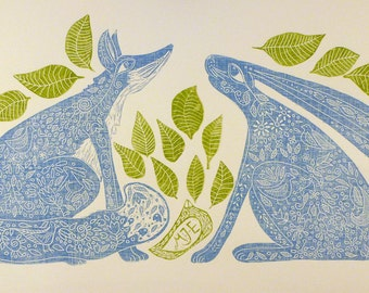 linocut, Hare, Fox, leaves, landscape, blue, green, printmaking folklore, country cottage, home interior, nursery decor, print,