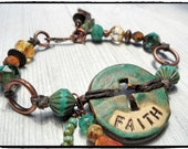 Faith Inspirational Spirited Bracelet Picasso Rustic Turquoise Cross Christian Faith Bracelet