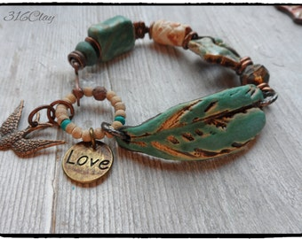 Boho Feather Bracelet Love Charm  Essential Oil Diffuser Turquoise Rustic Earthy Funky