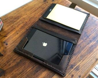 Mini iPad case apple, Handmade iPad mini organizer case with notepad, iPad leather portfolio case, iPad mini 4 folio case with notepad